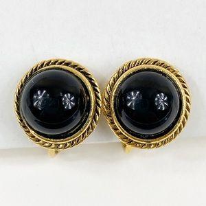 Vintage Black Clip On Earrings